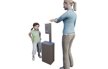 Post Mounted Small Hand Sanitizer Station & Receptacle