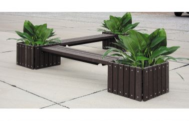 Recycled Plastic Bench with 3 Planters