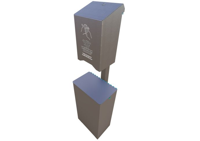 1005 Post Mounted Large Sanitizer And Receptacle