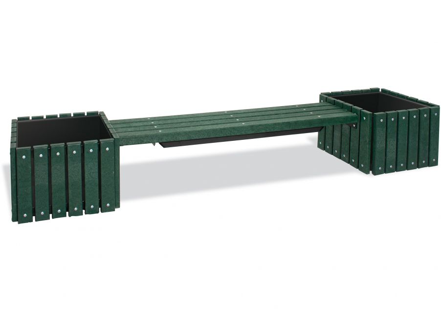 Recycled Plastic Bench with 2 Planters