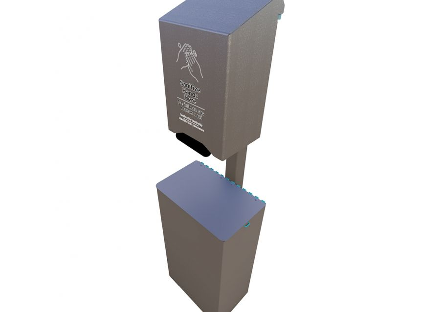Complete Large Hand Sanitizer Station w/ Receptacle (Hand Pump Style Dispenser)